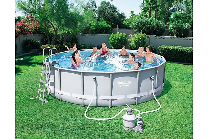 power steel frame pool set rund 488x122cm. Black Bedroom Furniture Sets. Home Design Ideas