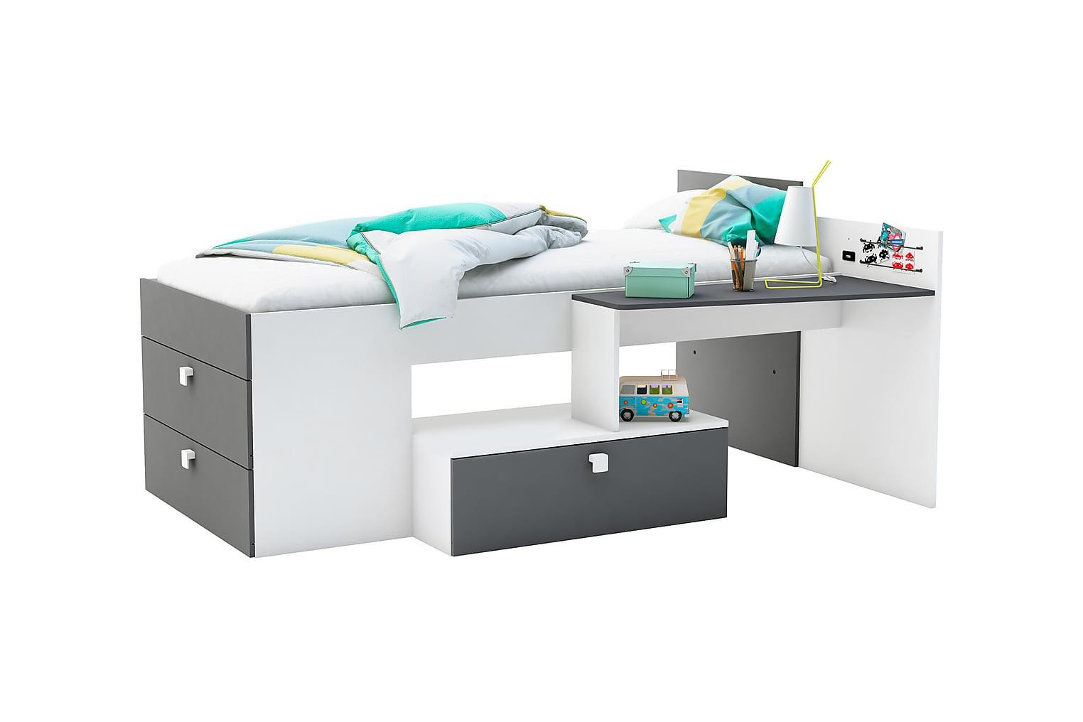 MOVITZ Sängynrunko Kirjoituspöydällä 90x200 Valkoinen/harmaa
