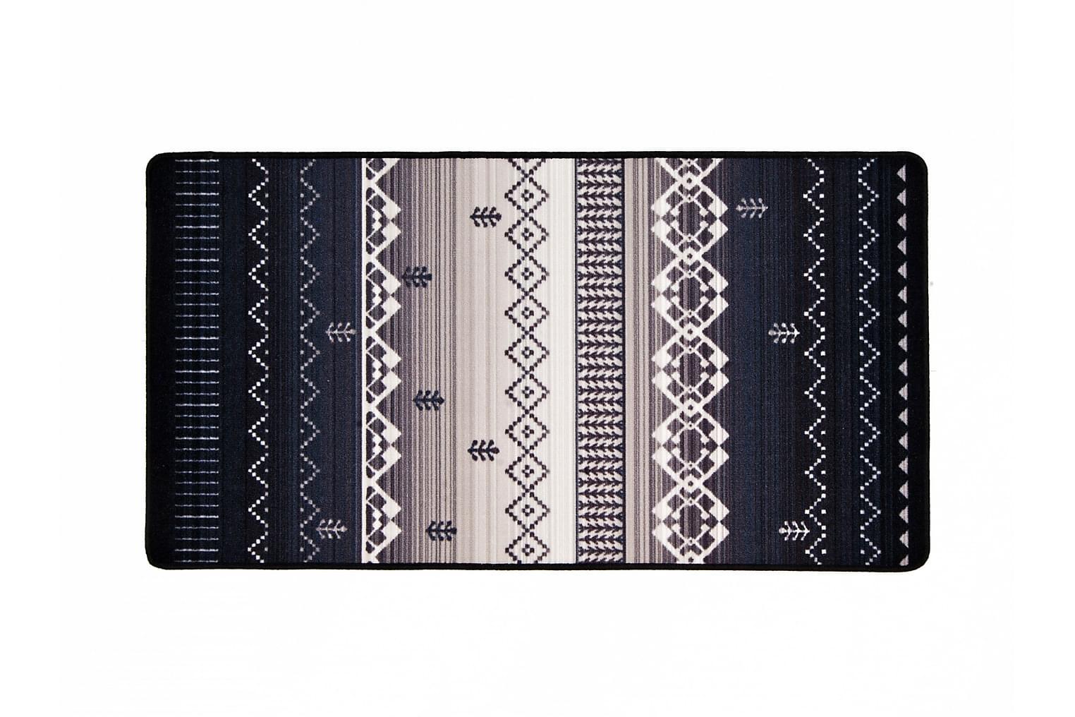GIZA Kumipinnoitettu Matto 80x150 Musta/Harmaa
