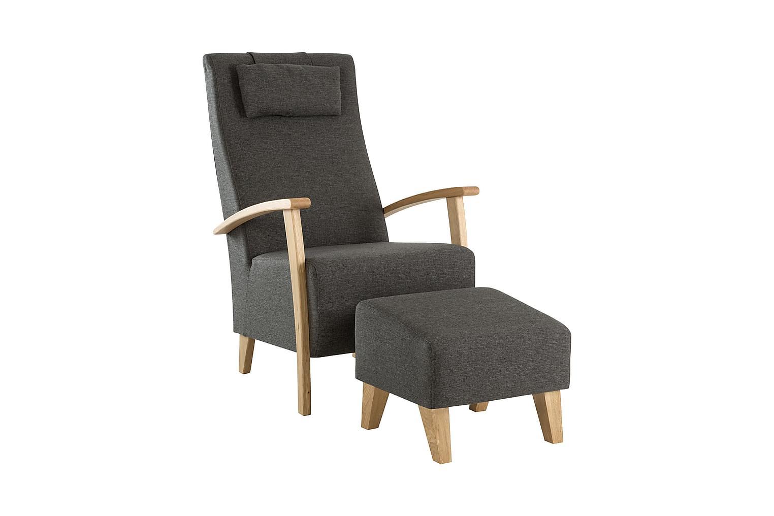 ANTON Nojatuoli+Rahi Harmaanruskea