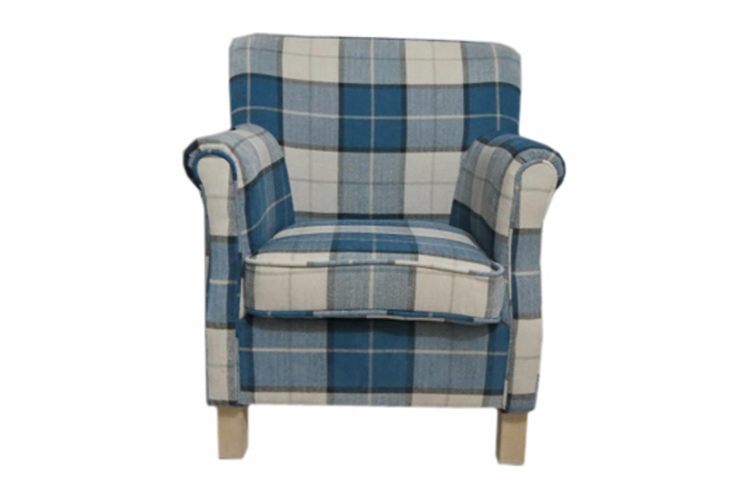 BRYDON Nojatuoli Sininen/Valkoinen Ruudullinen Tekstiili