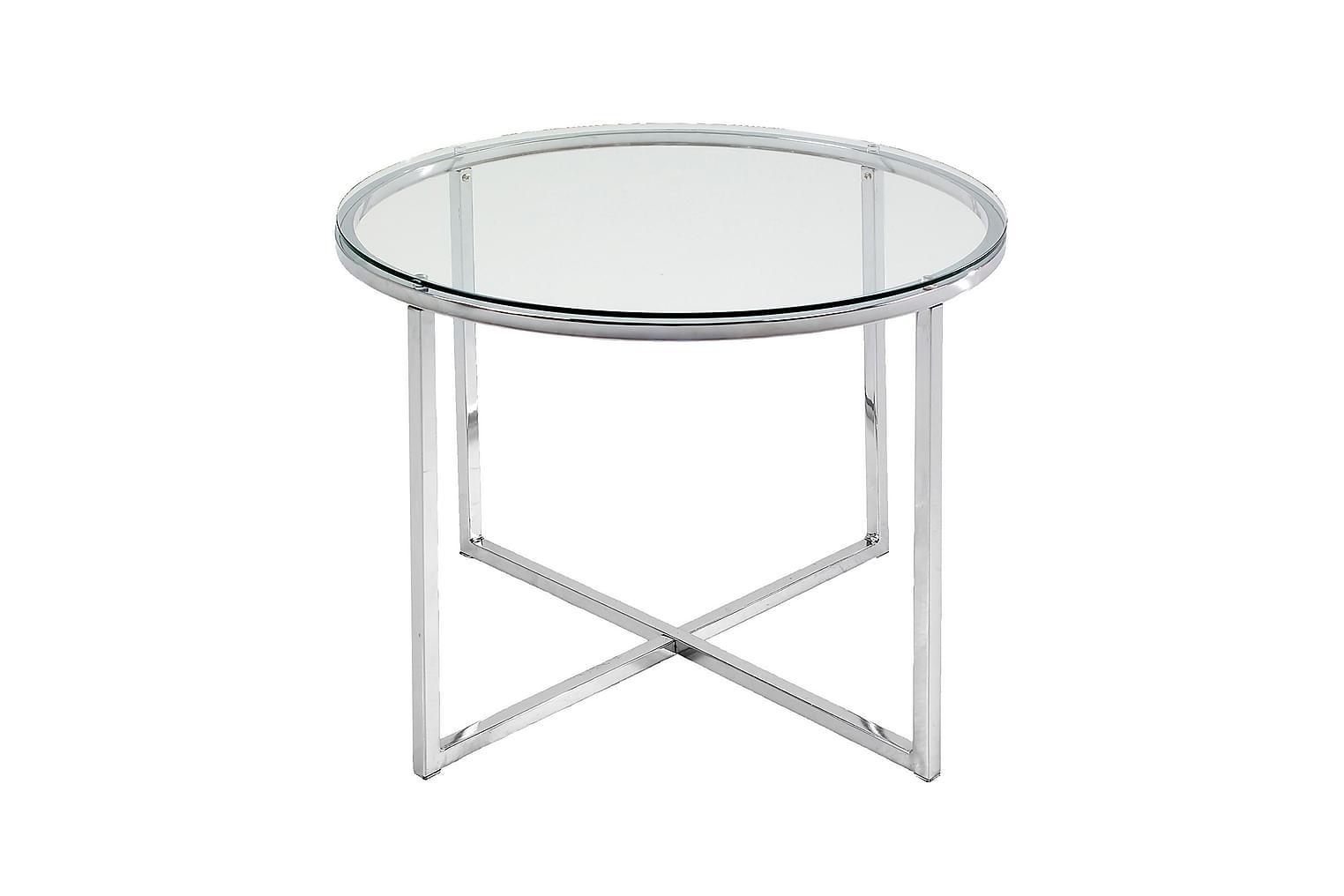 CRUZAR Sivupöytä 55 Kirkas lasi/kromi