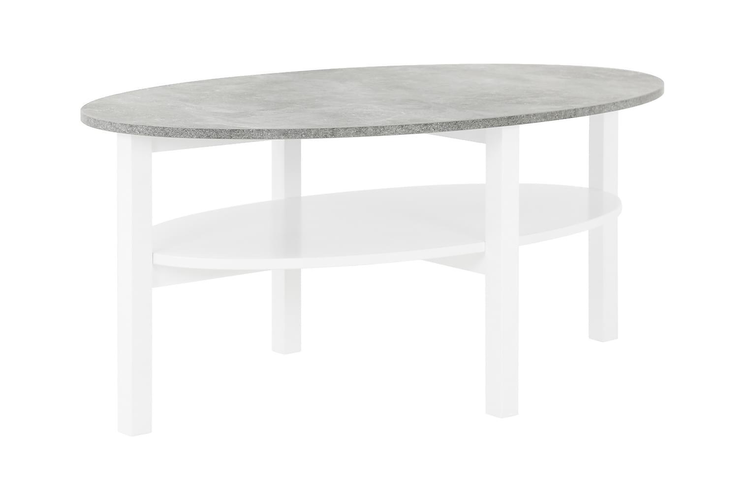 ANNELI Sohvapöytä 120 Valkoinen/Betoni