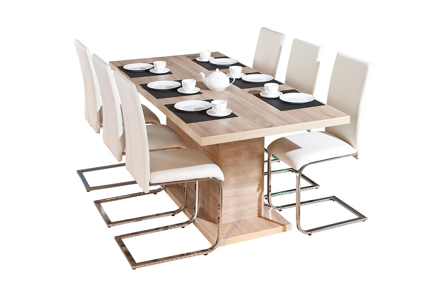 ABSOLUTO Pöytä 160 Vaalea tammi + 4 PHOENIX tuolia Valk