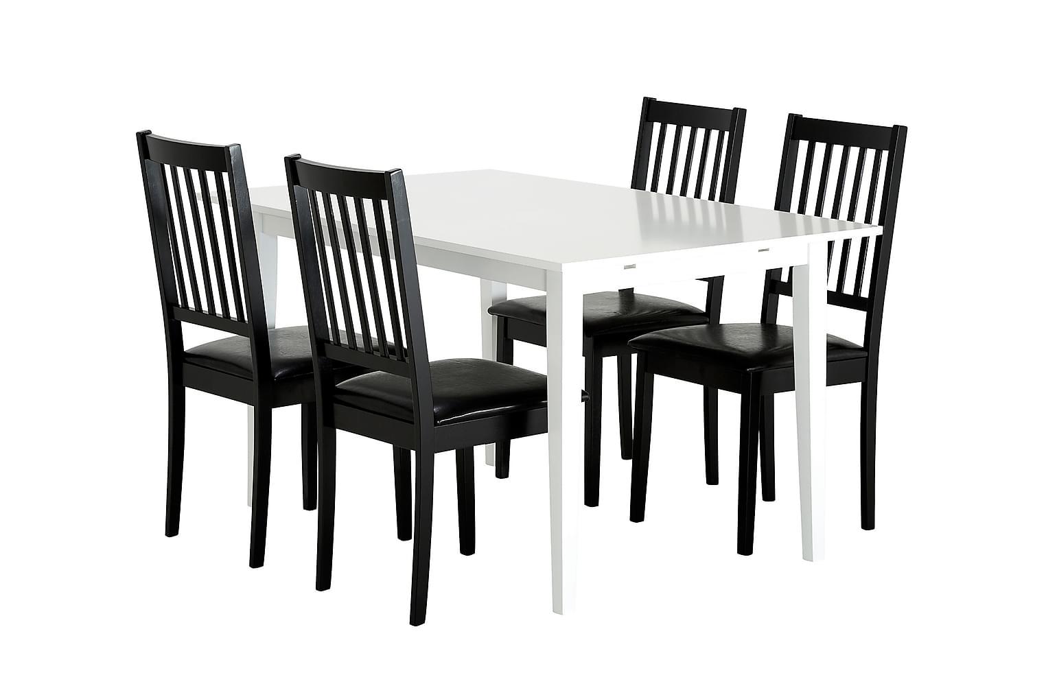 ALICE Pöytä 140 Valkoinen + 4 SETAR-Tuolia Musta
