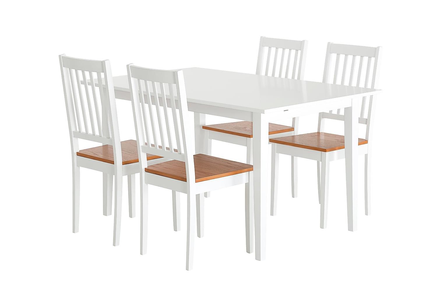 ALICE Pöytä 140 Valkoinen + 4 SETAR-Tuolia Valkoinen/Tammi