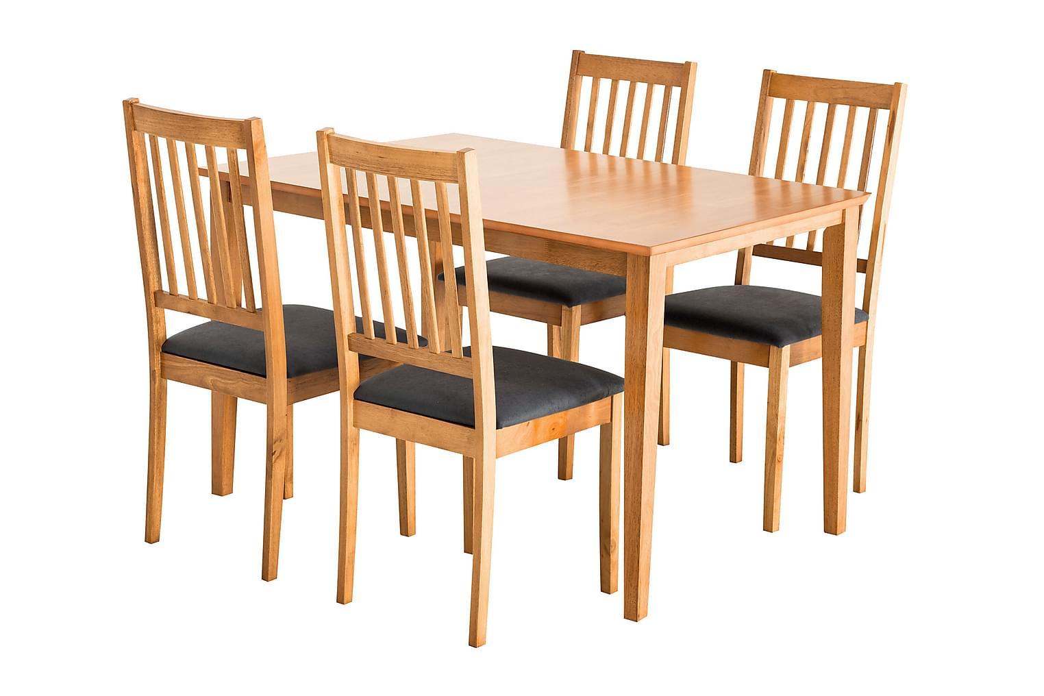 ALOR Pöytä 140 Tammi + 4 SETAR Tuolia Tammi/Harmaa