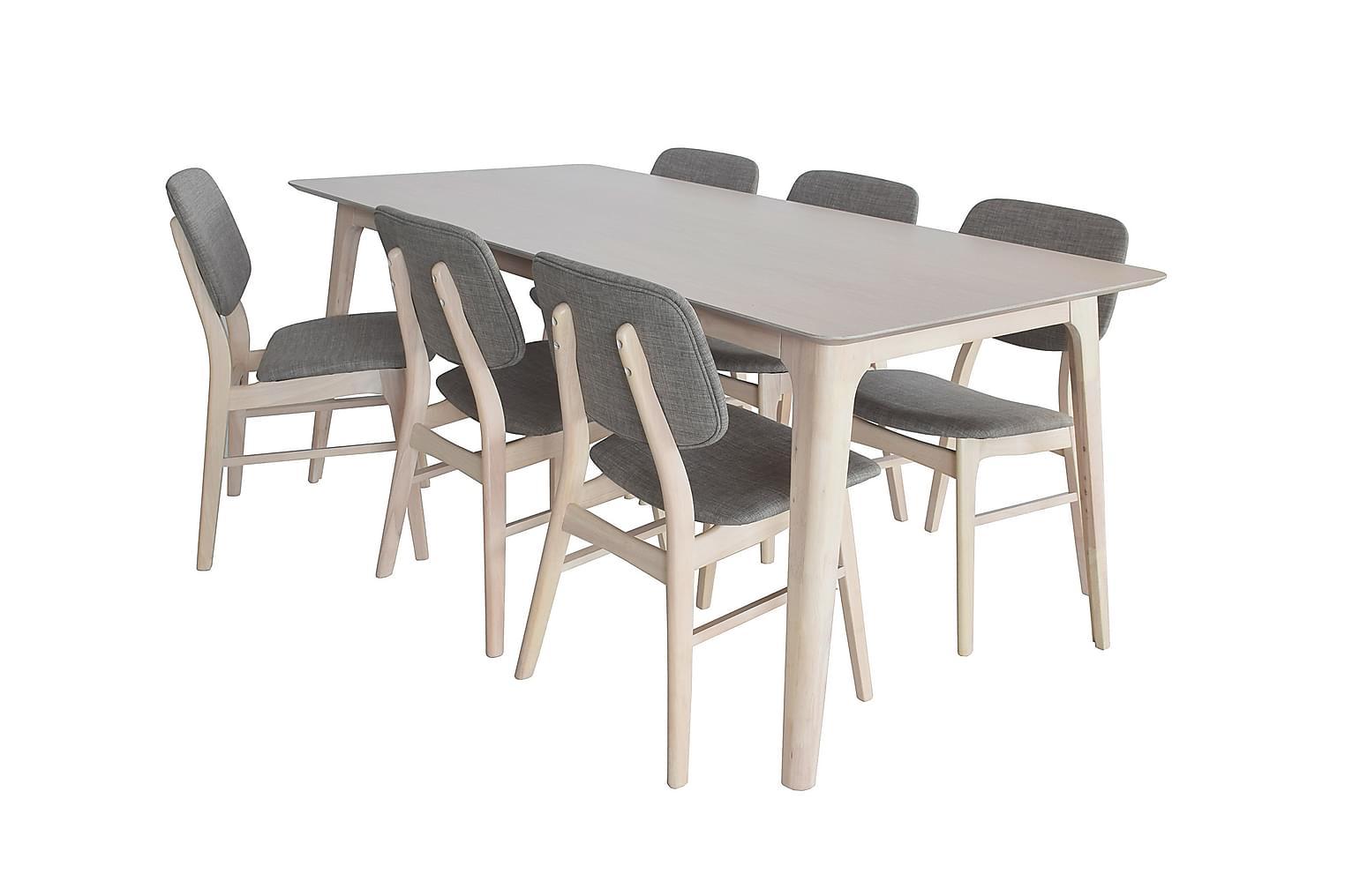 ANDREAS Pöytä 180 + 6 MANFRED Tuolia Kuultovalkoinen/harmaa