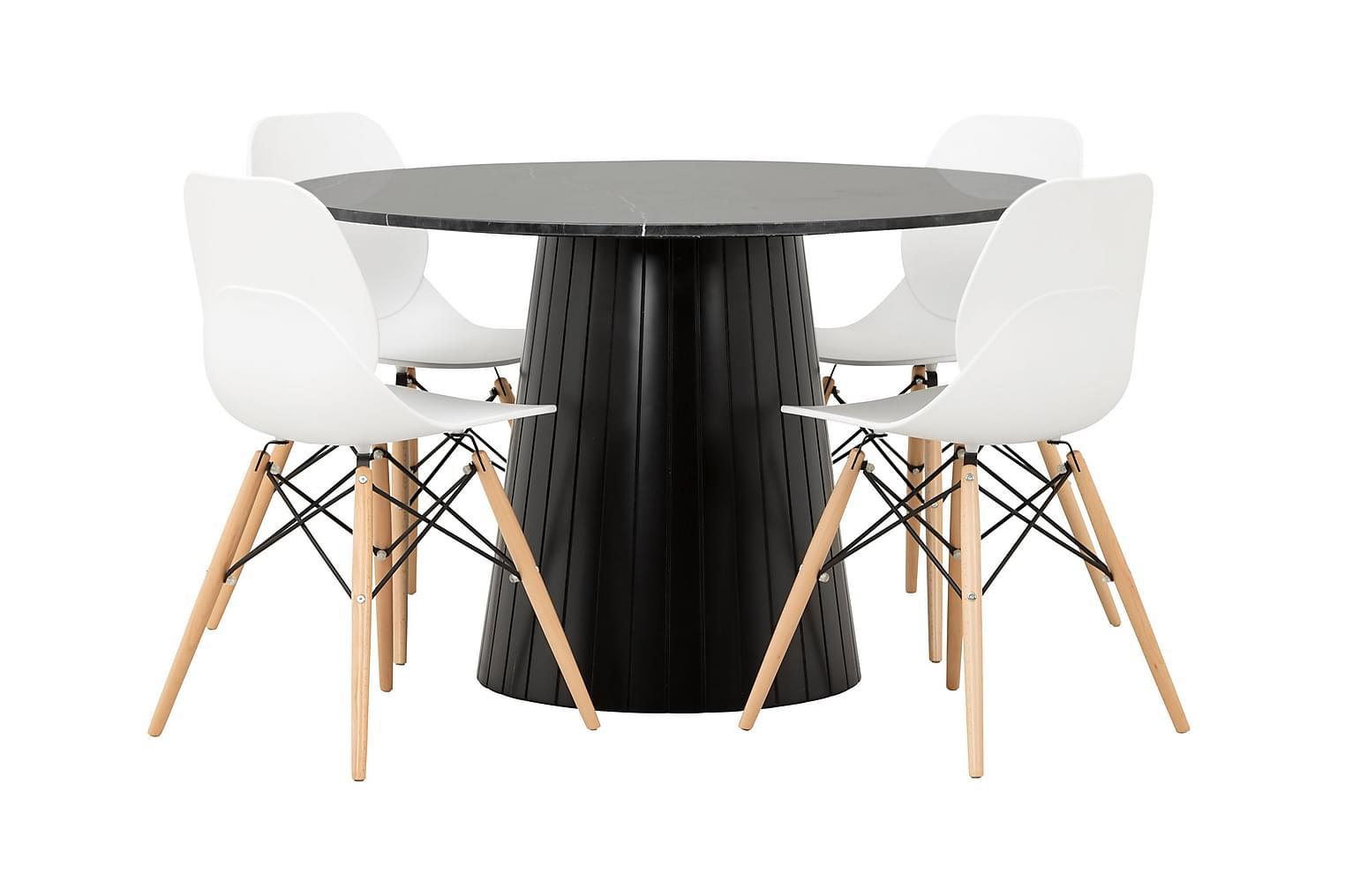 AVIO Pöytä 120 Musta +4 RANA Tuolia Valkoinen/puu