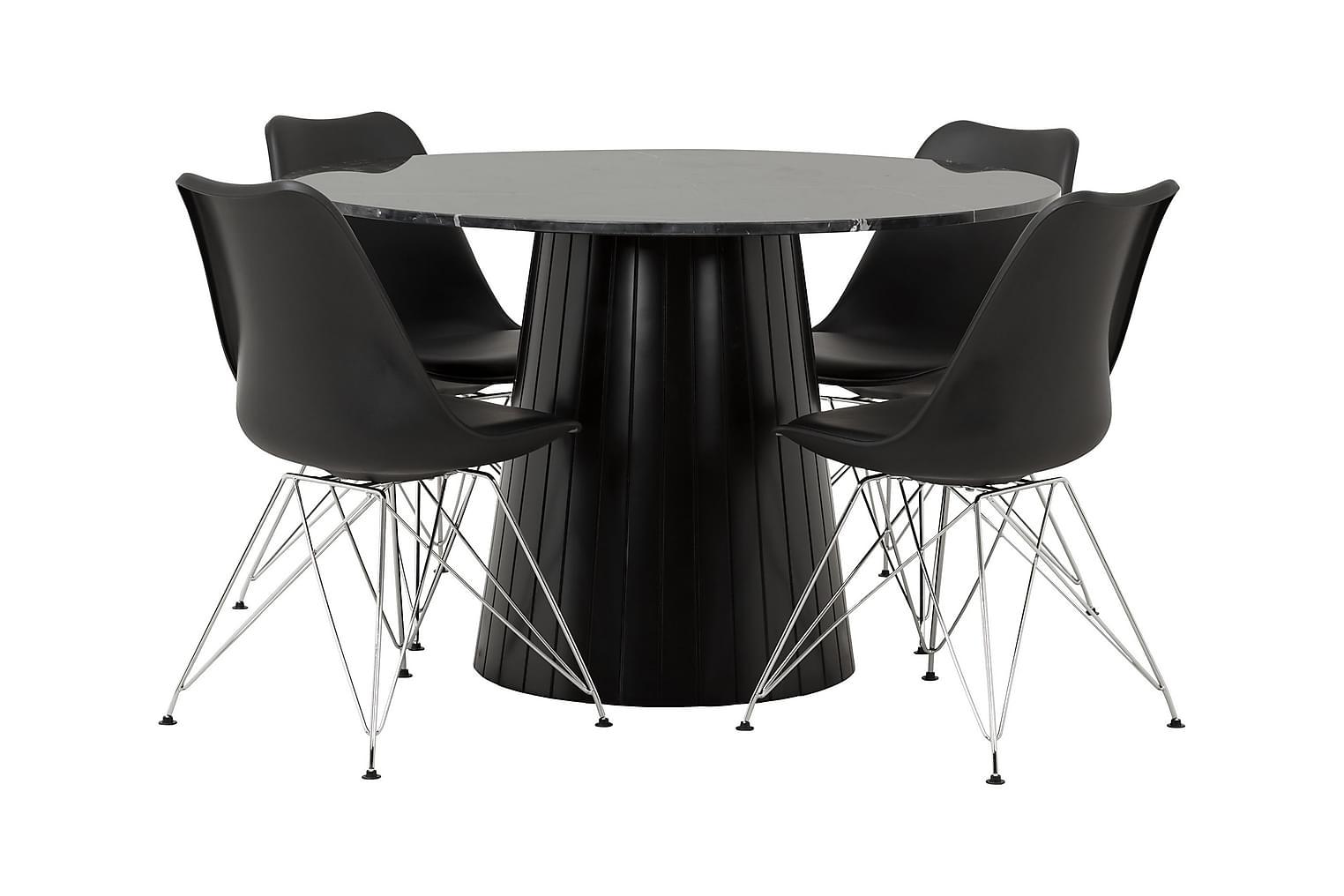 AVIO Pöytä 120 Musta +4 SHELLO Tuolia Musta