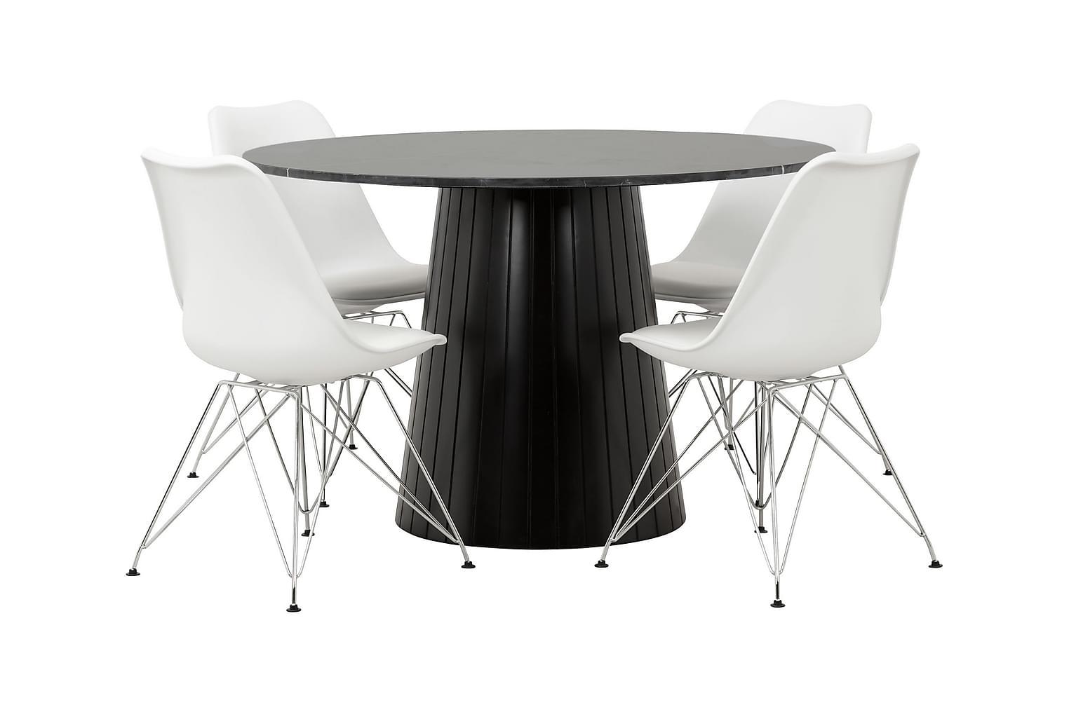 AVIO Pöytä 120 Musta +4 SHELLO Tuolia Valkoinen