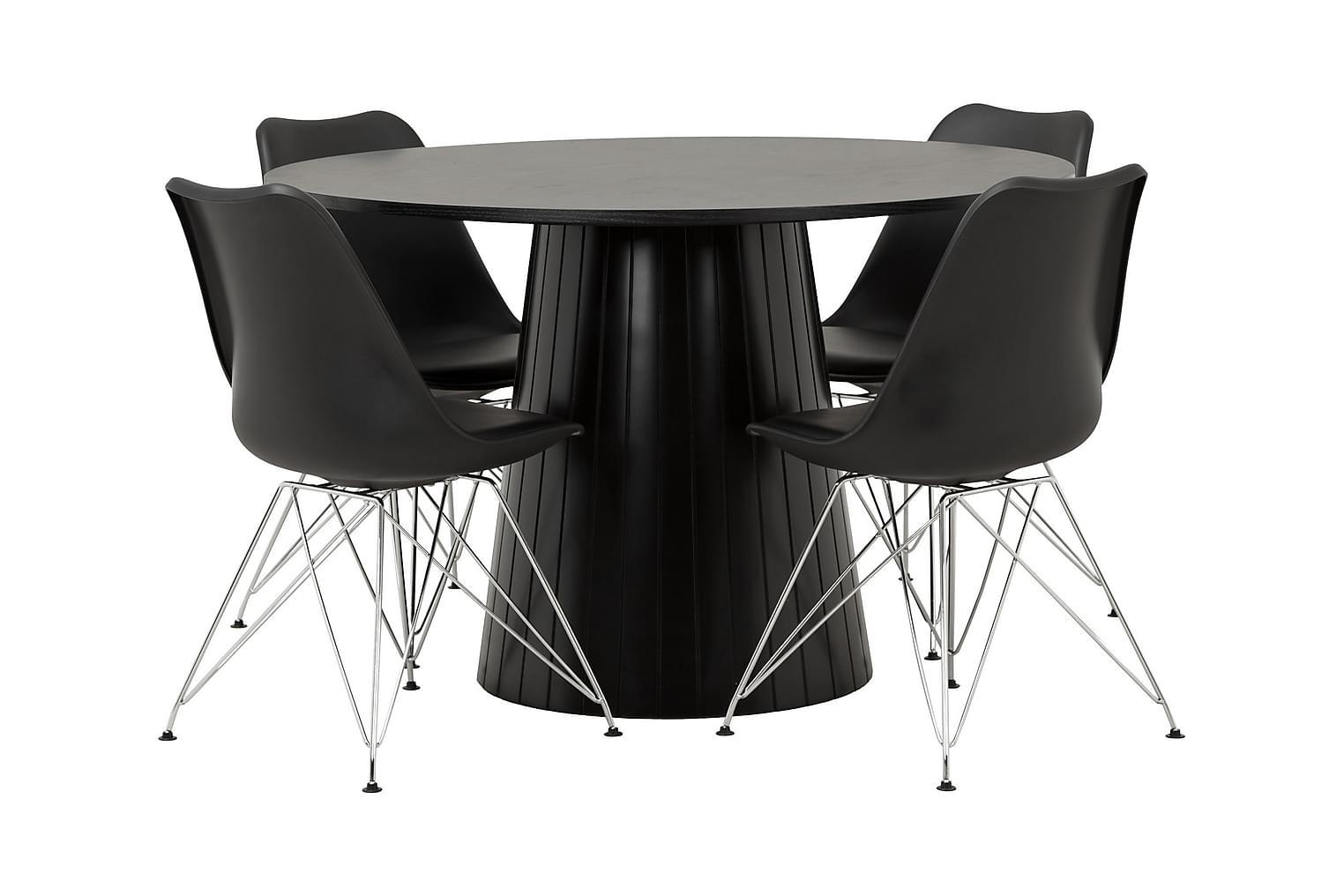 AVIO Pöytä 120 Musta Tammi/Musta +4 SHELLO Tuolia Musta