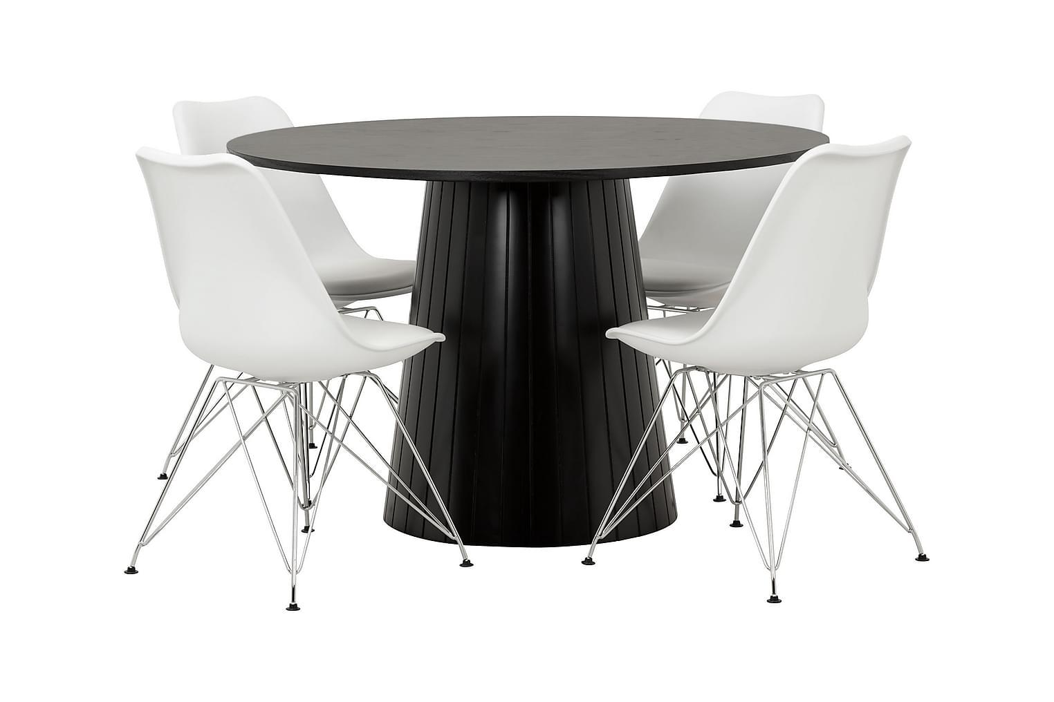 AVIO Pöytä 120 Musta Tammi/Musta +4 SHELLO Tuolia Valkoinen