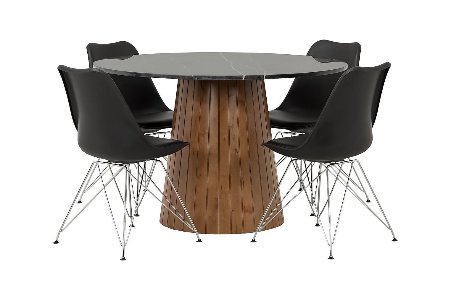 AVIO Pöytä 120 Musta/Pähkinä +4 SHELLO Tuolia Musta