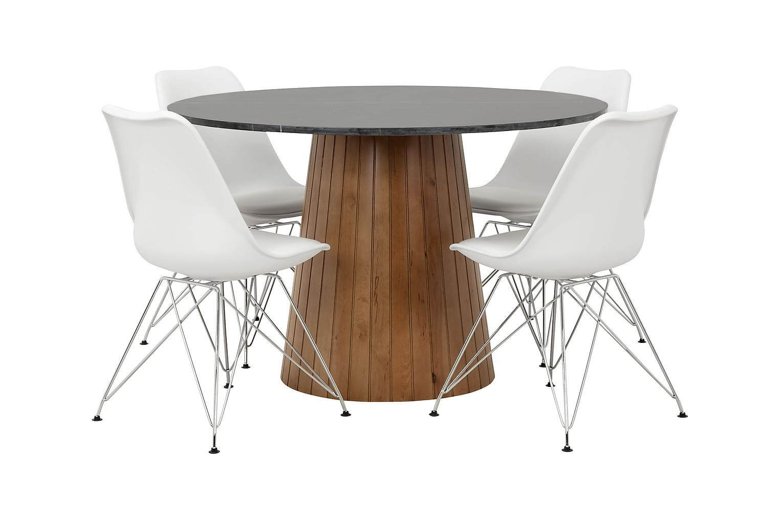 AVIO Pöytä 120 Musta/Pähkinä +4 SHELLO Tuolia Valkoinen