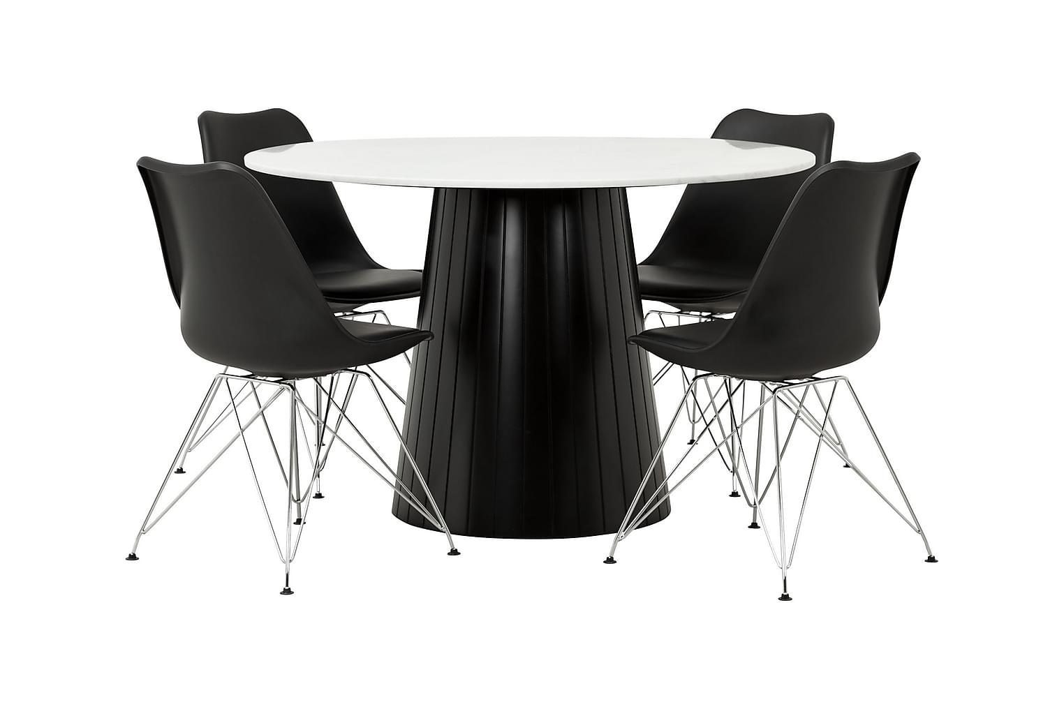 AVIO Pöytä 120 Valkoinen/musta +4 SHELLO Tuolia Musta