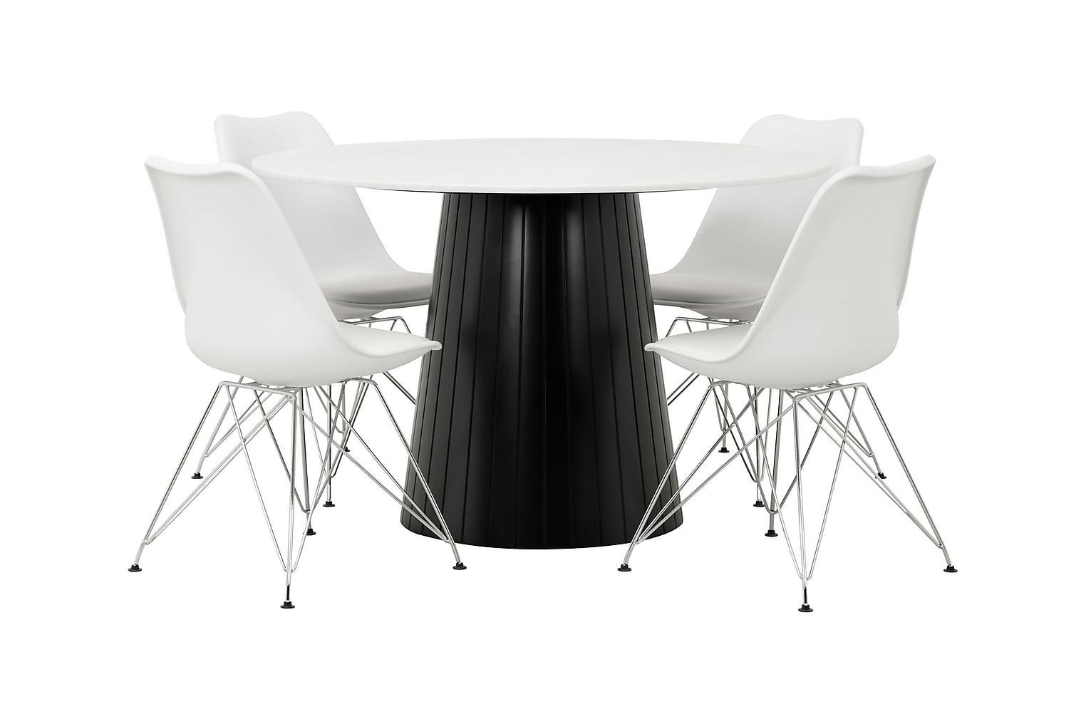 AVIO Pöytä 120 Valkoinen/musta +4 SHELLO Tuolia Valkoinen