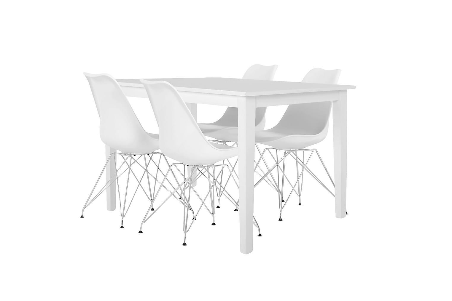 BARRINGTON Pöytä 120 Valkoinen + 4 SHELLO Tuoli Valkoinen/Kr