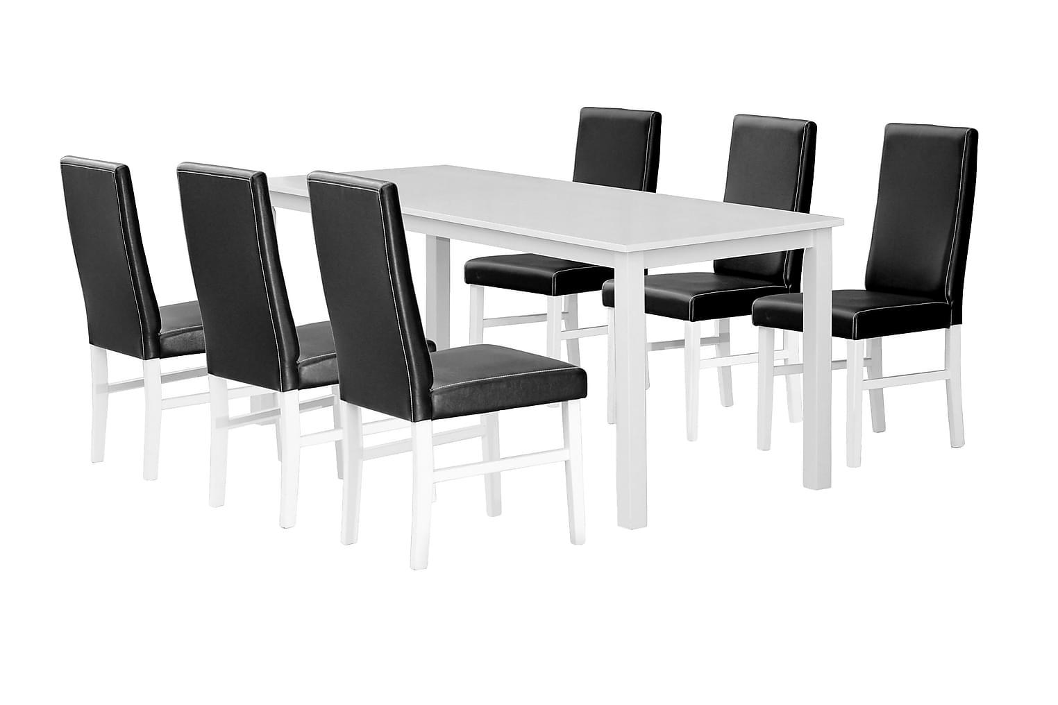 BELUGA Pöytä 120 180 Valkoinen + 6 ROSY Musta PU