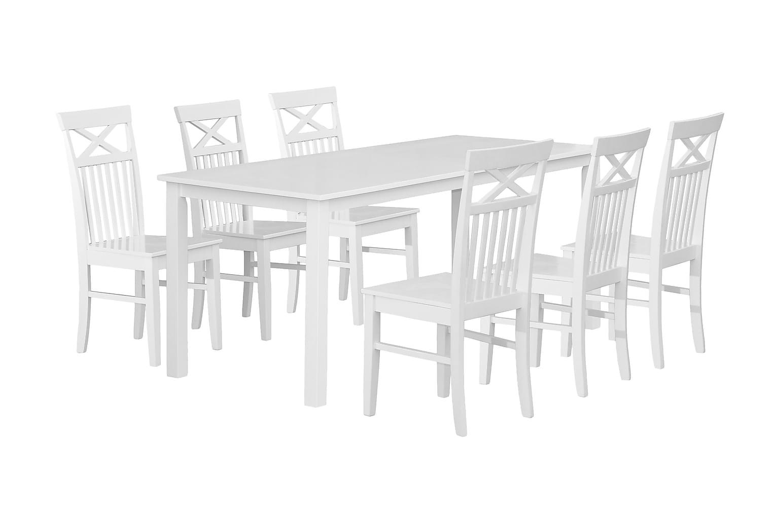 BELUGA Pöytä 180 + 6 Tuolia Valkoinen