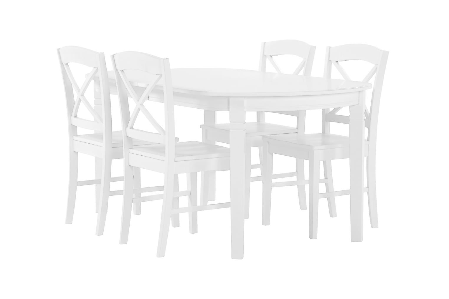 BERGSTRÖM Pöytä 160 Valkoinen + 4 BRÖMSEBO-Tuolia Valkoinen