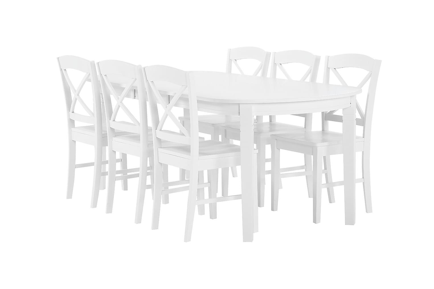 BERGSTRÖM Pöytä 160 Valkoinen + 6 BRÖMSEBO-Tuolia Valkoinen