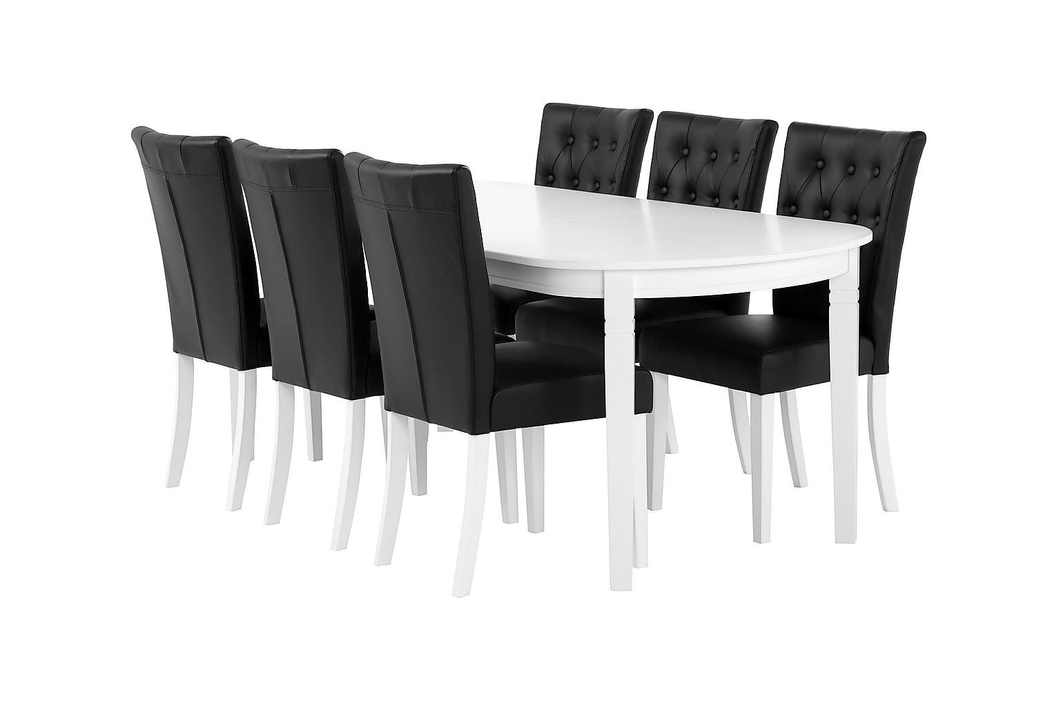 BERGSTRÖM Pöytä 160 Valkoinen + 6 KUNGÄLV-Tuolia Musta