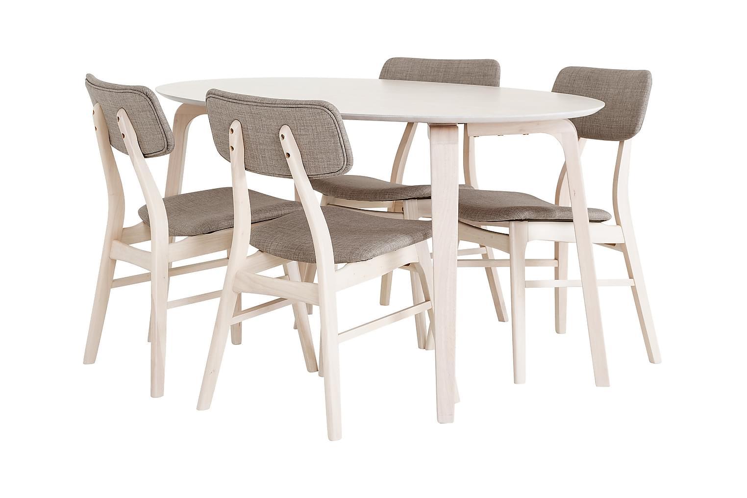 BETSY pöytä 150 tammi + 4 tuolia beige/luonnonvärinen