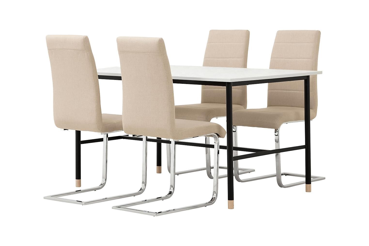 BRANDY Pöytä 138 Marmori + 4 EMÅN Tuolia Beige