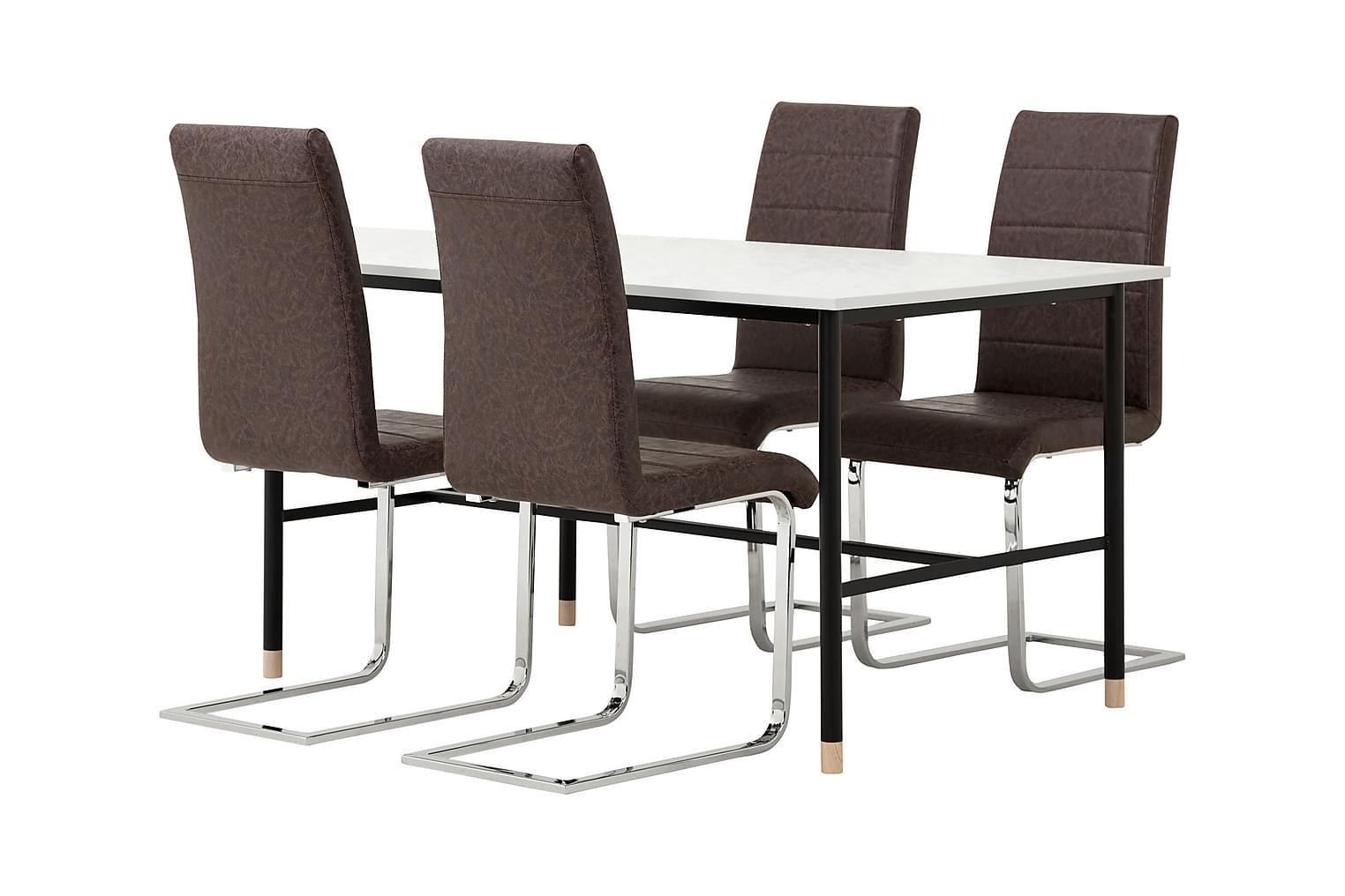 BRANDY Pöytä 138 Marmori + 4 EMÅN Tuolia Tumma antiikki