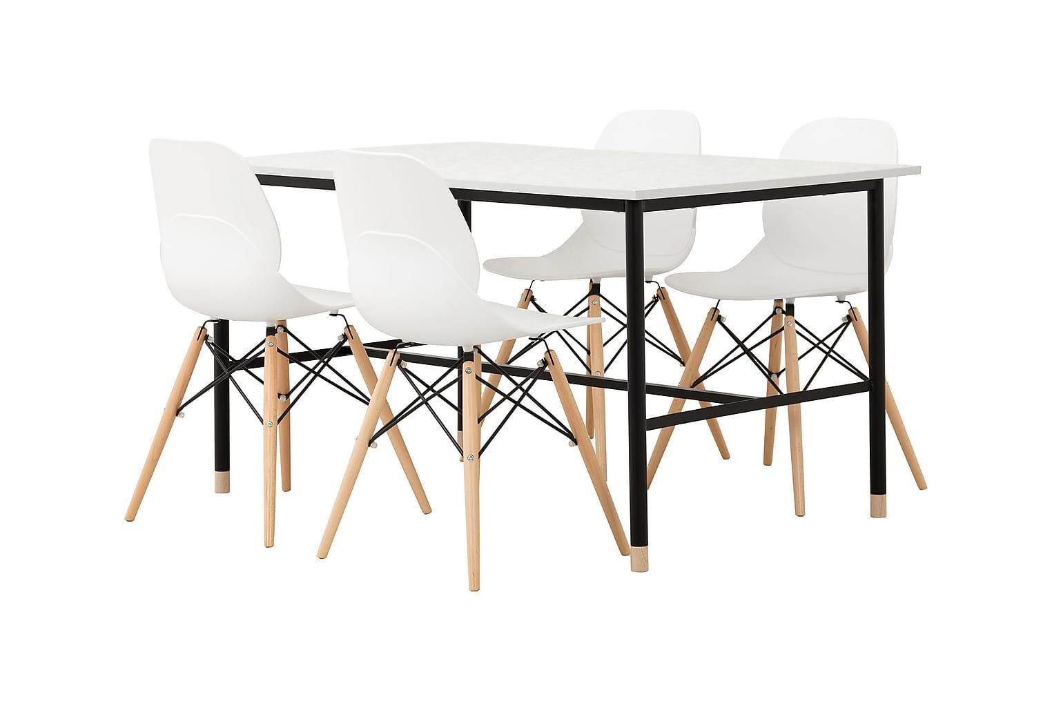 BRANDY Pöytä 138 Marmori + 4 RANA Tuolia Valkoinen/Puujalat