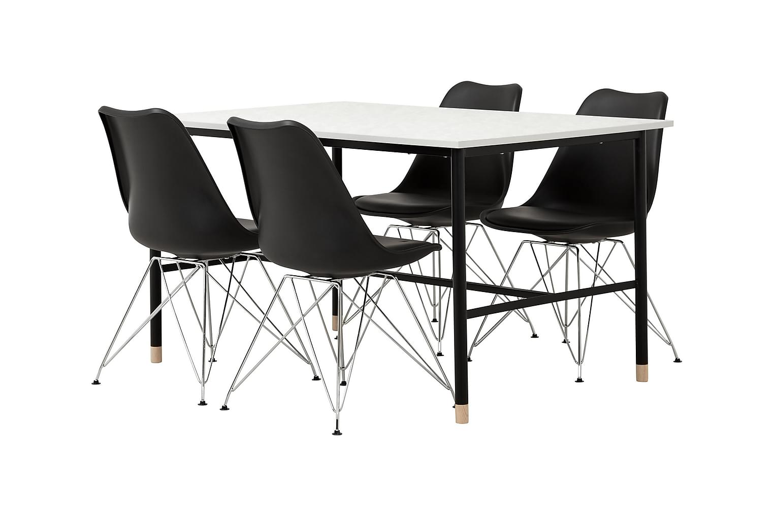 BRANDY Pöytä 138 Marmori+ 4 SHELLO Tuolia Musta/Kromi