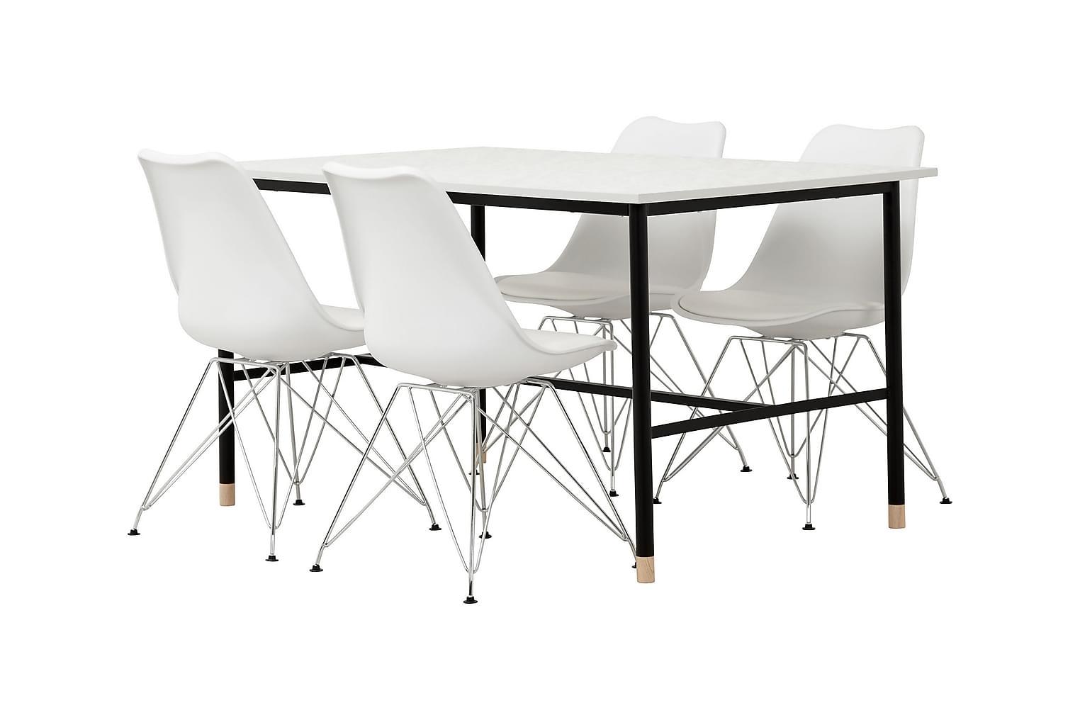 BRANDY Pöytä 138 Marmori+ 4 SHELLO Tuolia Valkoinen/Kromi