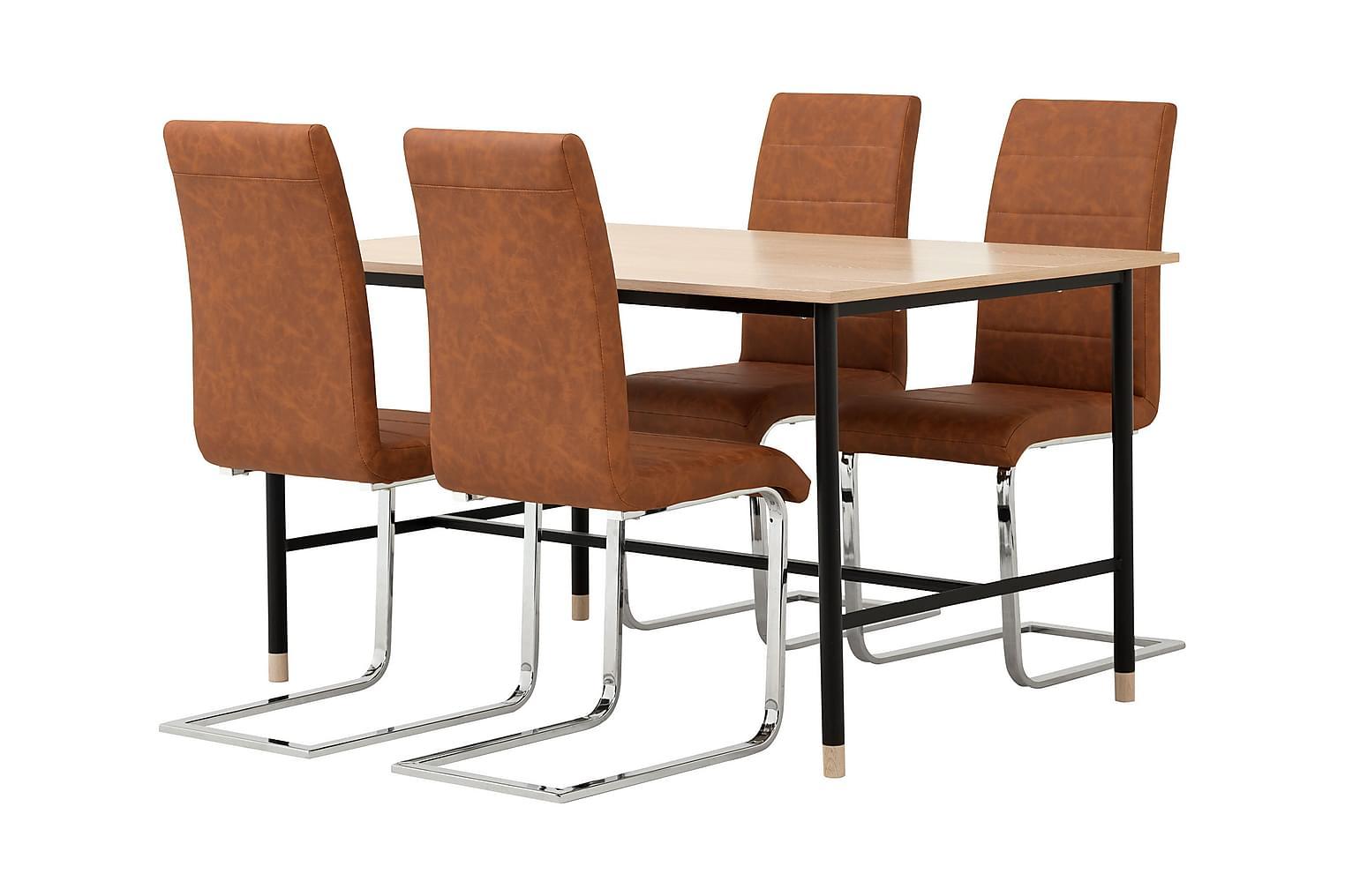 BRANDY Pöytä 138 Tammi/Musta + 4 EMÅN Tuolia Antiikinruskea