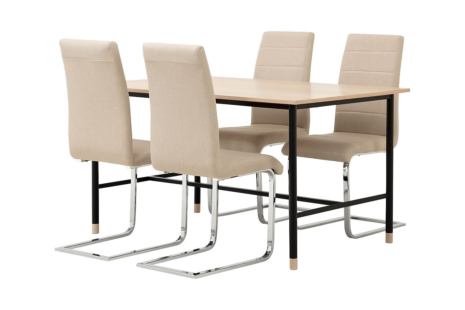 BRANDY Pöytä 138 Tammi/Musta + 4 EMÅN Tuolia Beige