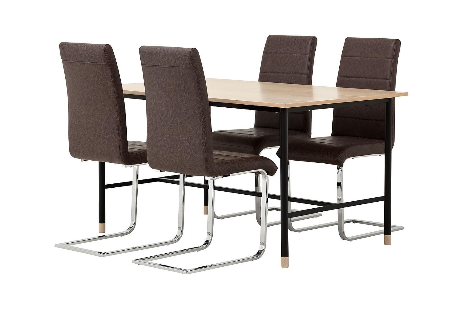 BRANDY Pöytä 138 Tammi/Musta + 4 EMÅN Tuolia Tumma antiikki