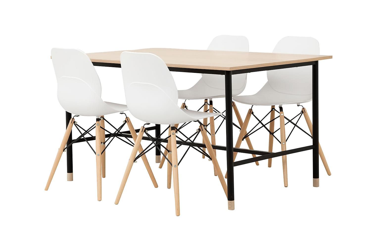 BRANDY Pöytä 138 Tammi/Musta + 4 RANA Tuolia Valkoinen/Puuja