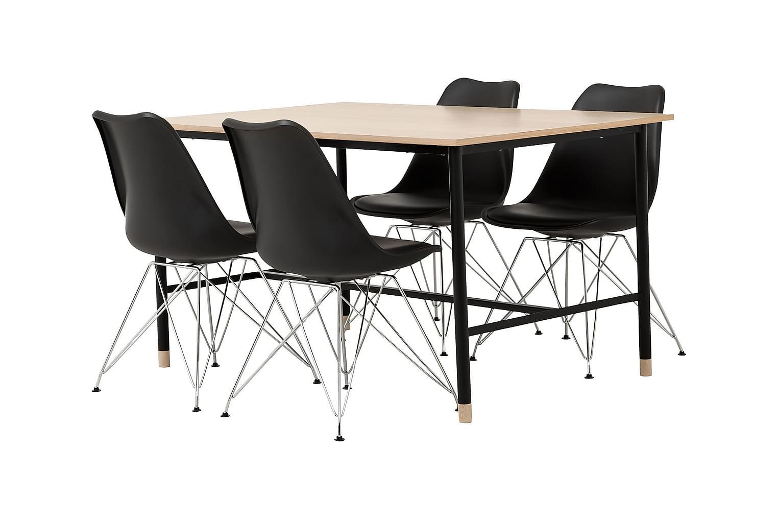 BRANDY Pöytä 138 Tammi/Musta + 4 SHELLO Tuolia Musta/Kromi