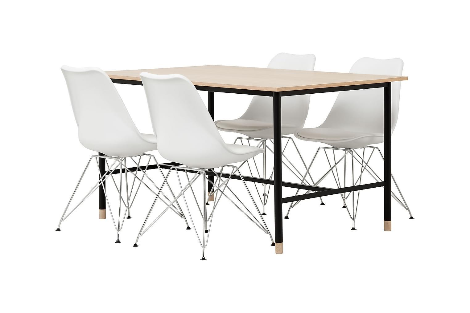 BRANDY Pöytä 138 Tammi/Musta + 4 SHELLO Tuolia Valkoinen/Kro