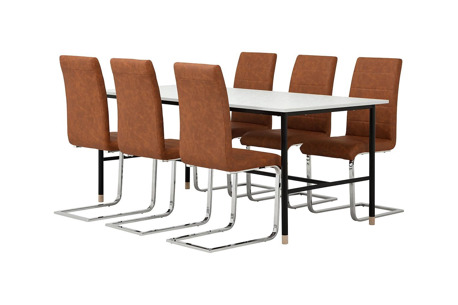 BRANDY Pöytä 180 Marmori + 6 EMÅN Tuolia Antiikinruskea
