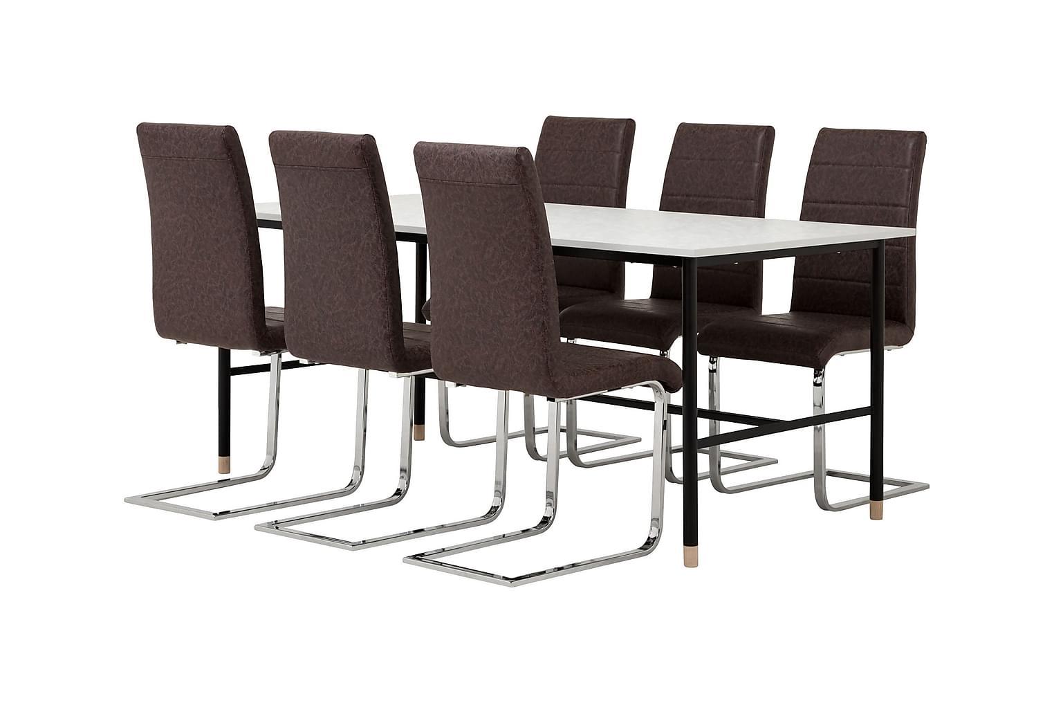 BRANDY Pöytä 180 Marmori + 6 EMÅN Tuolia Tumma antiikki