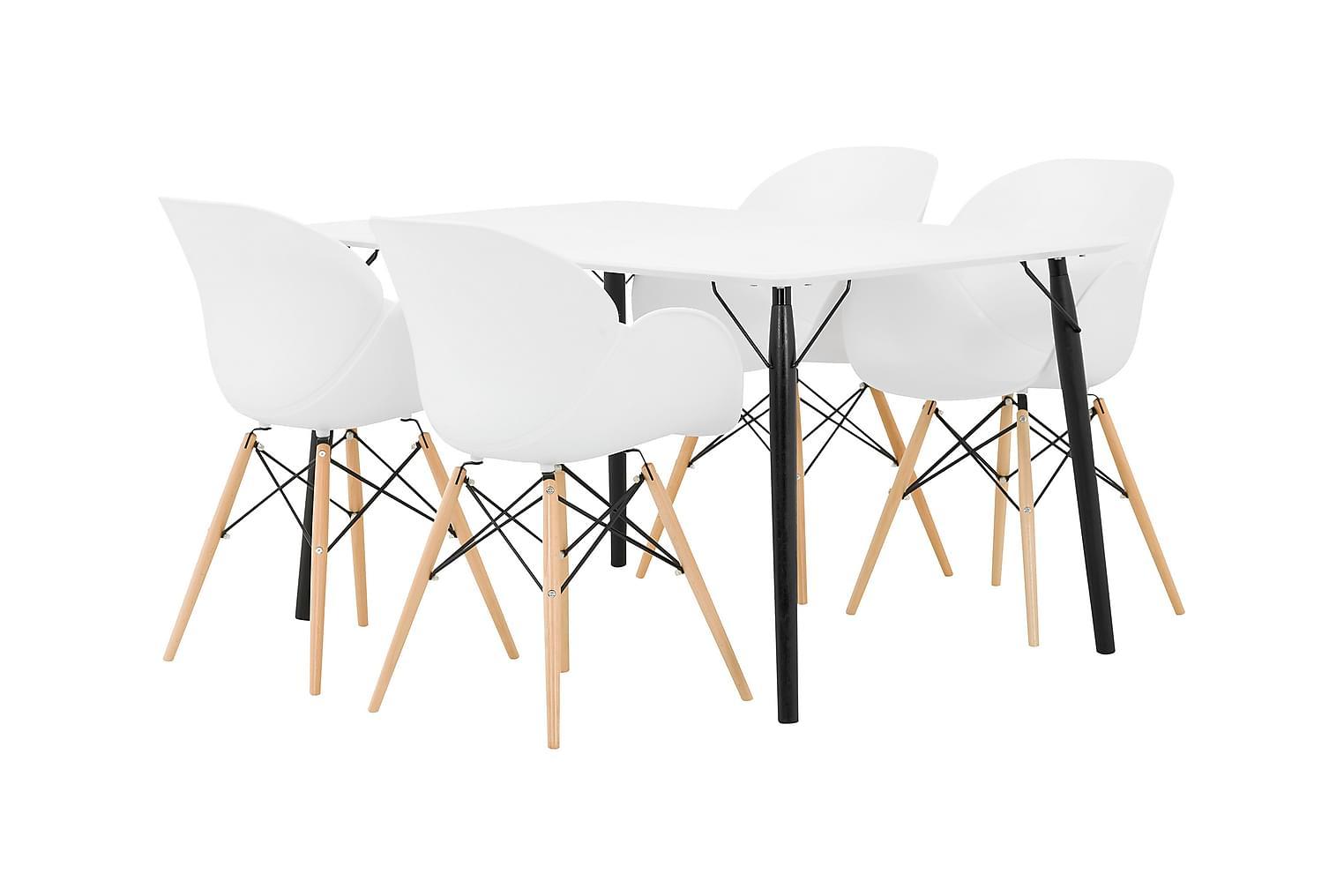 CLAIRE Pöytä 140 + 4 RANA Nojatuoli Valkoinen