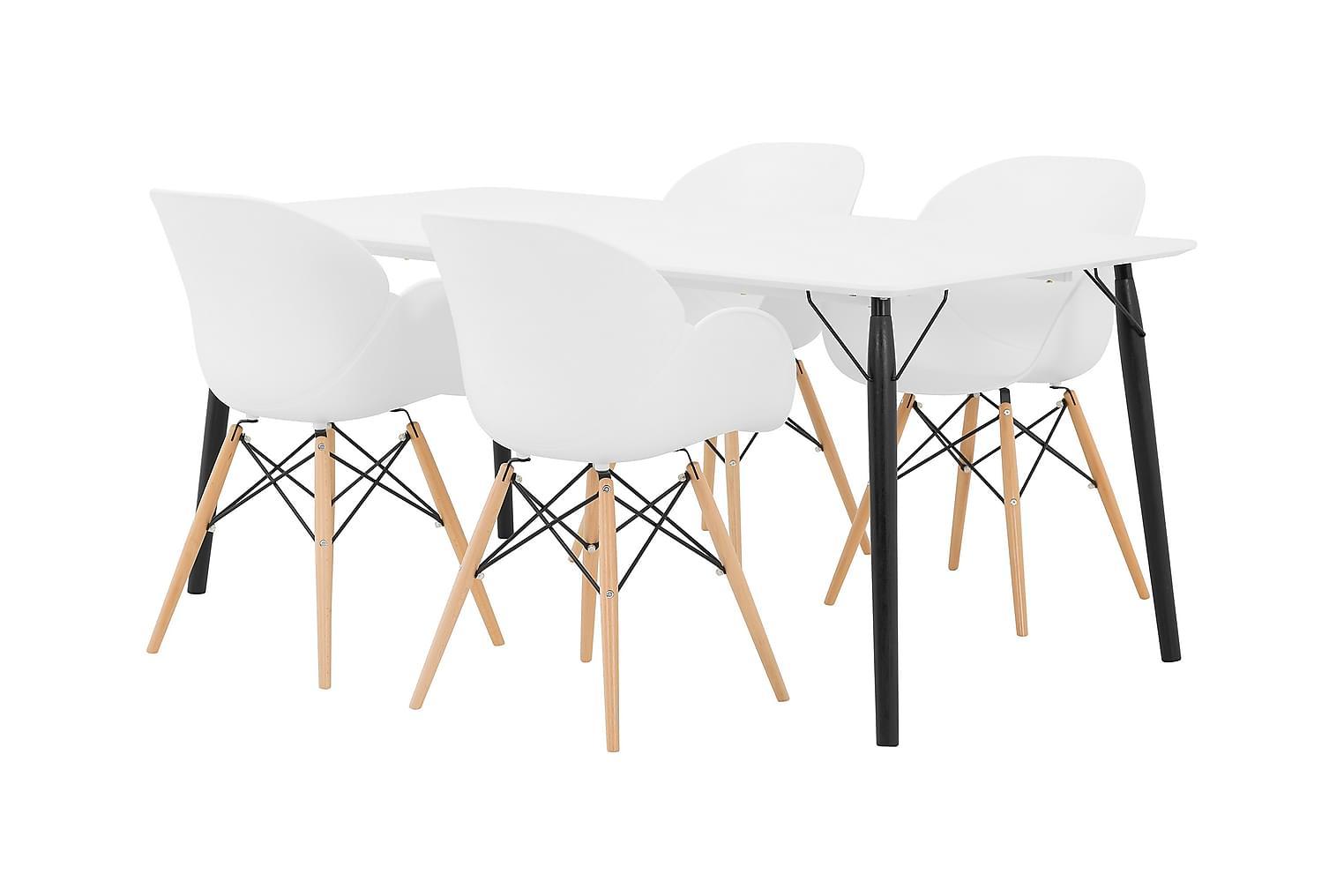 CLAIRE Pöytä 180 + 4 RANA Nojatuoli Valkoinen