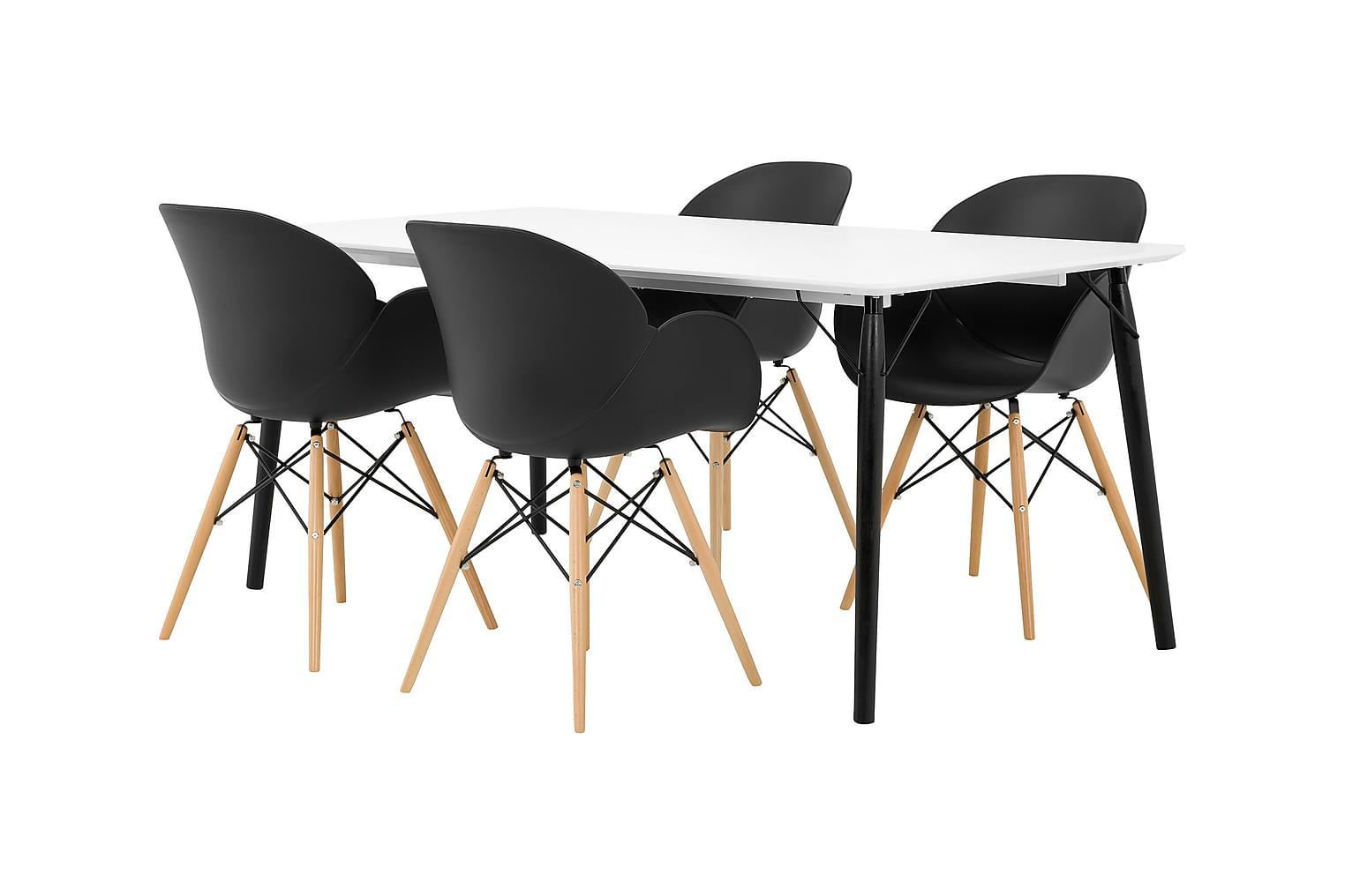 CLAIRE Pöytä 180 Valkoinen + 4 RANA Nojatuoli Musta