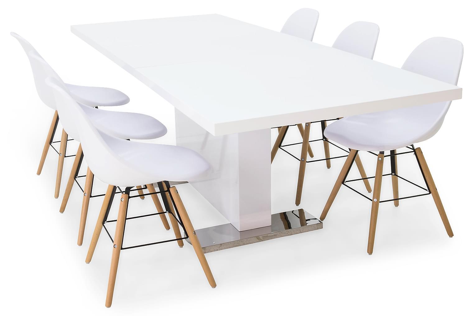 DUMAS Pöytä 180 Valkoinen + 6 BEVERLY Tuolia Valkoinen