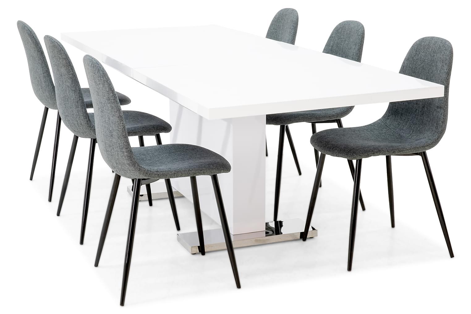 DUMAS Pöytä 180 Valkoinen + 6 NIKOLAS Tuolia Musta/harmaa