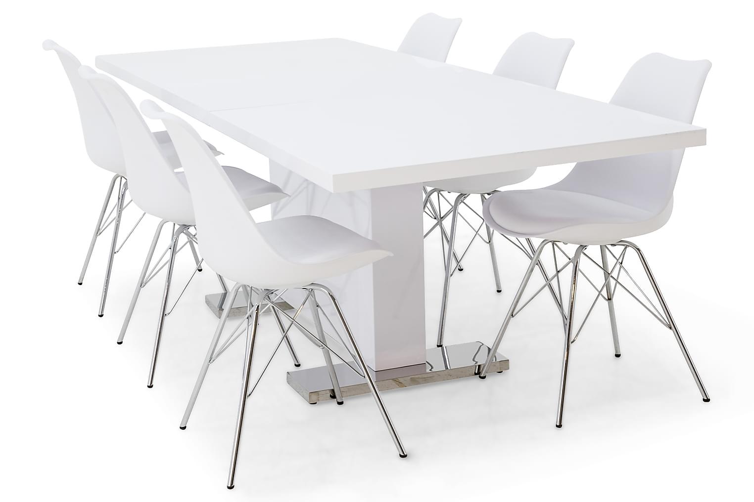 DUMAS Pöytä 180 Valkoinen + 6 ZENIT Tuolia Valkoinen/Kromi