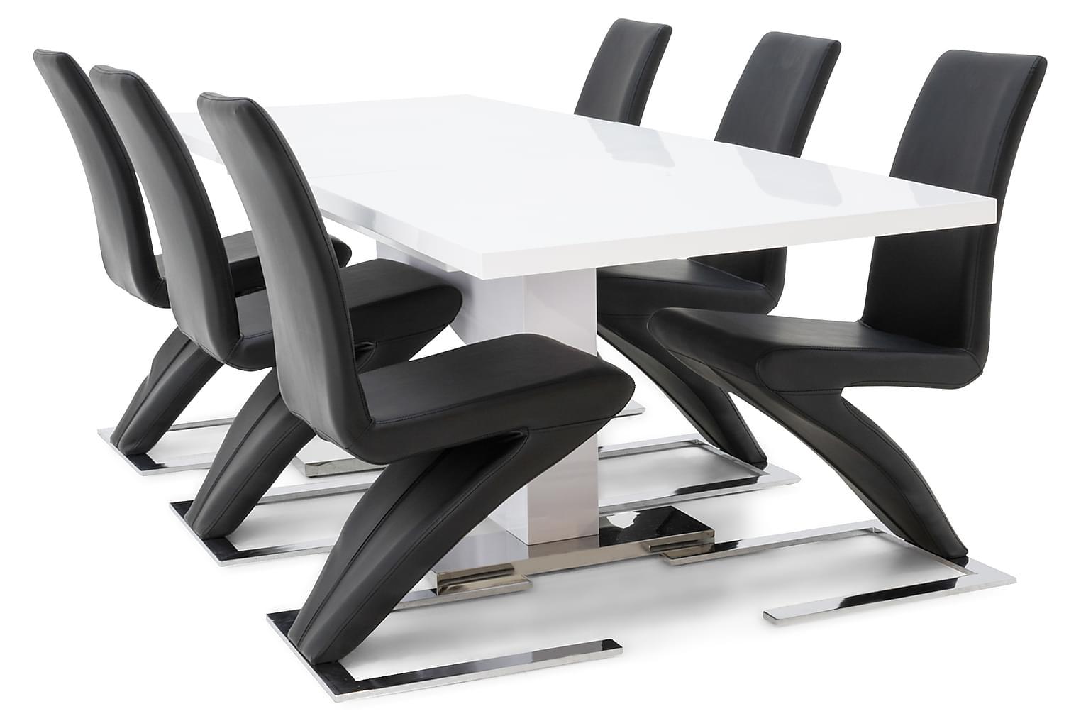 DUMAS Pöytä 180/230 Valkoinen + 6 DUMAS Tuolia Musta