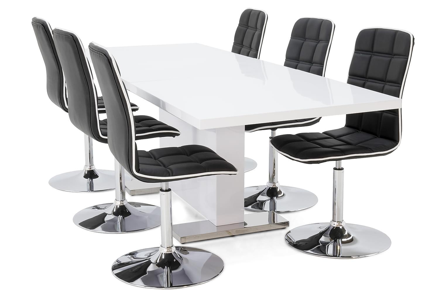 DUMAS Pöytä 180/230 Valkoinen + DESTIN Tuolia Musta