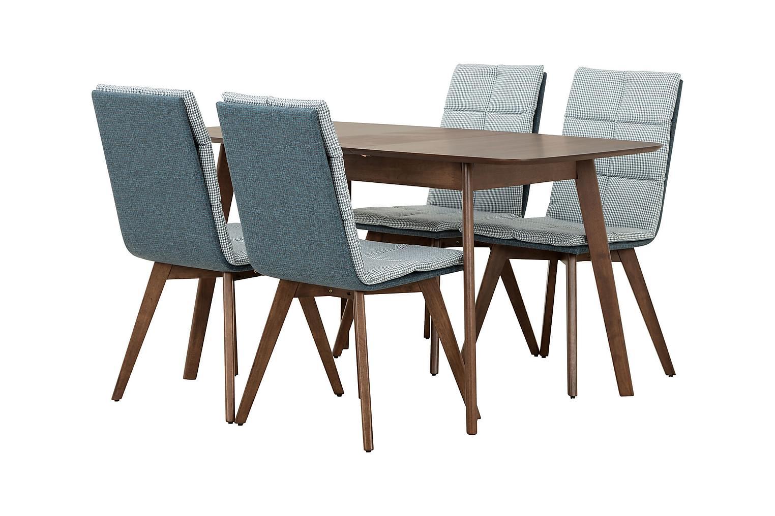 ELINA Pöytä 120 Pähkinä + 4 EDDIE Tuolia Sininen/Pähkinä